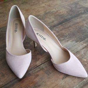 peach kitten heels